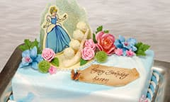 Cinderella cake with Happy Birthday banner