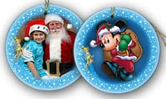Two examples of Disney's PhotoPass seasonal plates