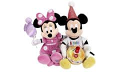 Two cute birthday Beanie Babies of Minnie and Mickey Mouse.