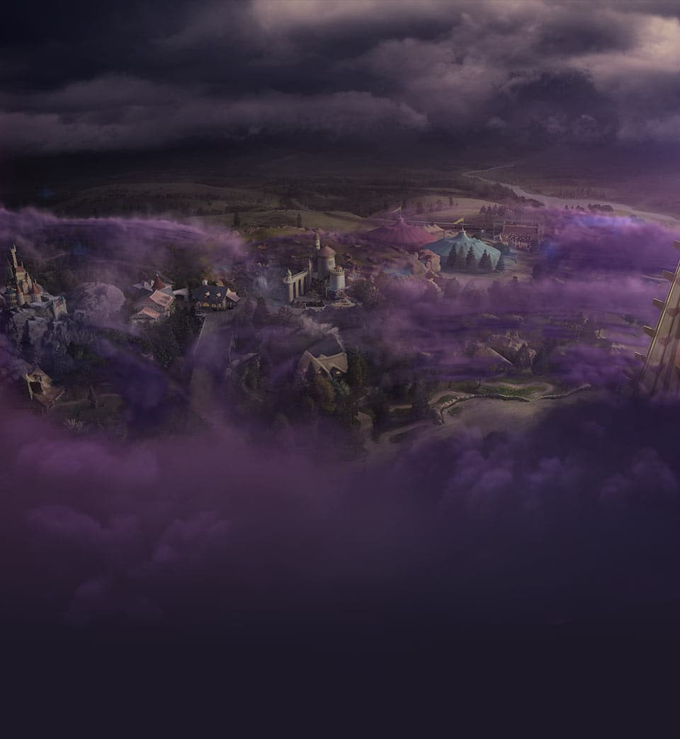 New Fantasyland covered with dark purple clouds.